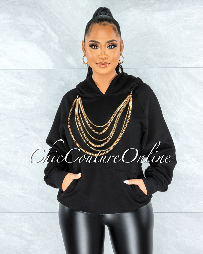 Gimle Black Gold Layered Link Detail Hooded Sweater