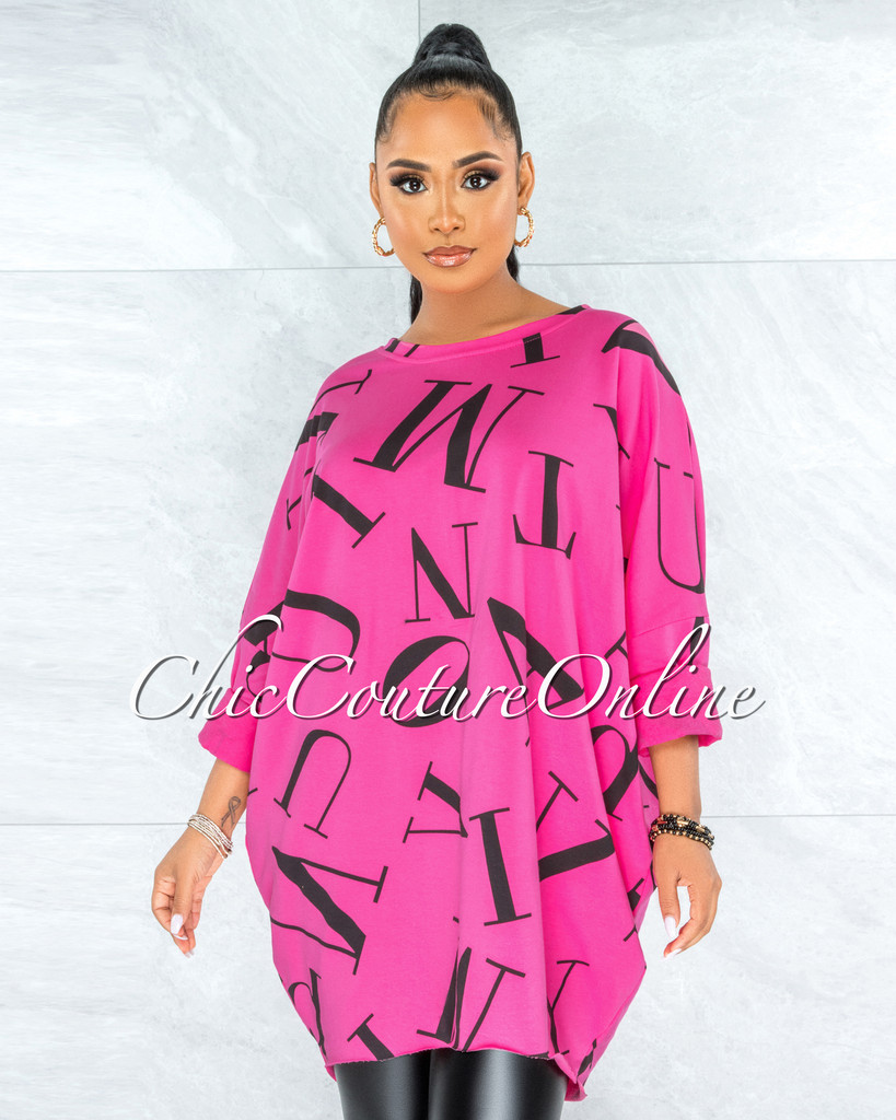 Miguel Fuchsia Black Letters Print Over-sized Shirt Dress