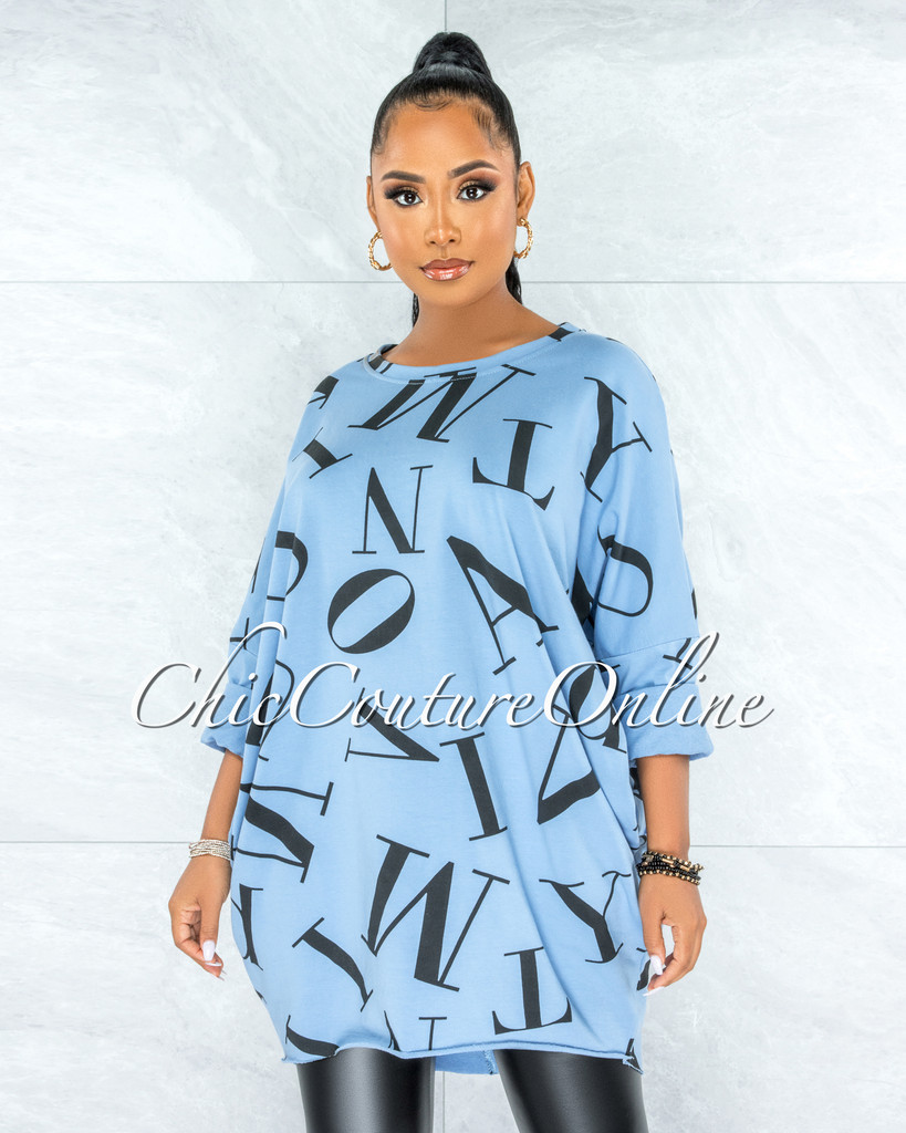 Miguel Baby Blue Black Letters Print Over-sized Shirt Dress