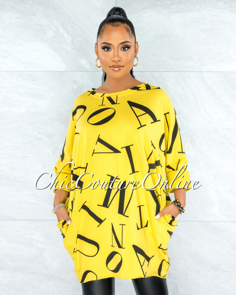 Miguel Yellow Black Letters Print Over-sized Shirt Dress