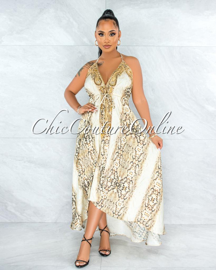 Ladonna Snake Print Luxe Embellishment Halter Maxi Dress