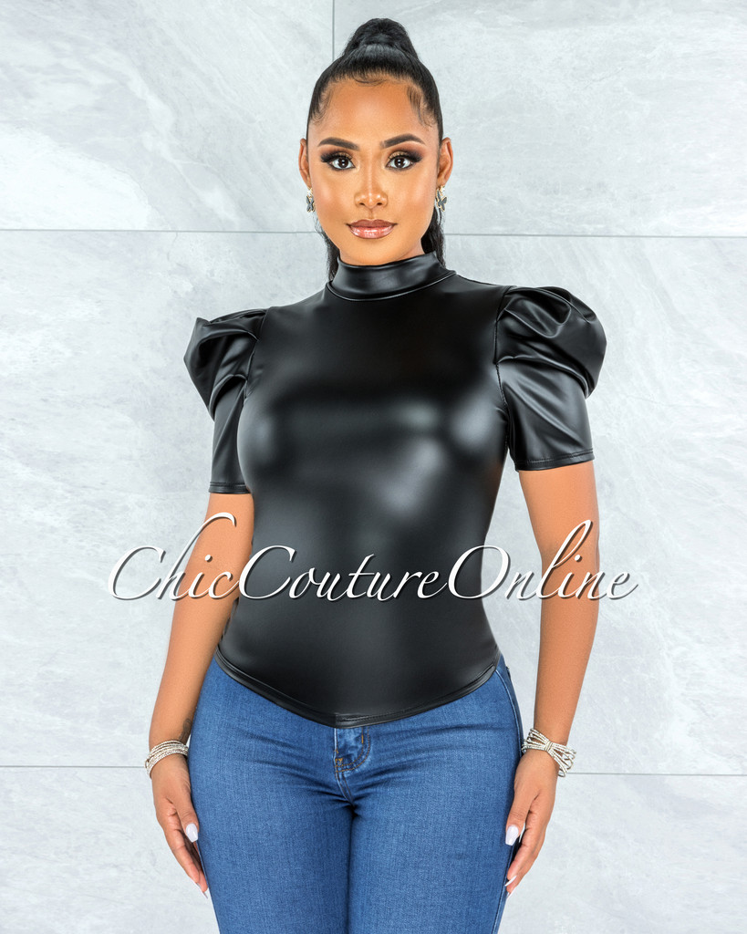 Kleef Black Faux Leather Bubble Sleeves Top