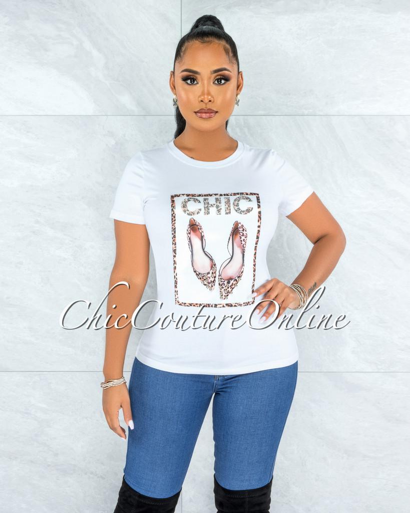 Estella White Leopard Silver Pearl Graphic T-Shirt