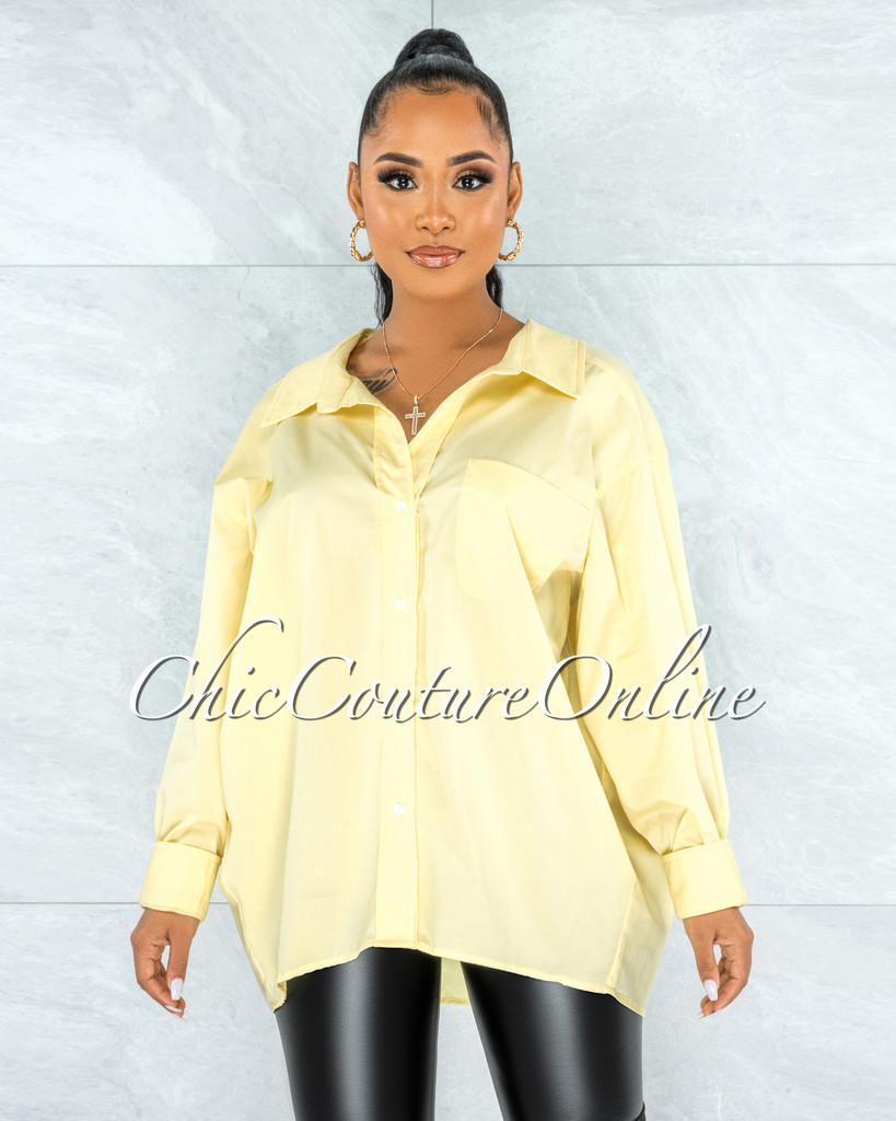 Wallis Soft Yellow Front Buttons Oversized Shirt