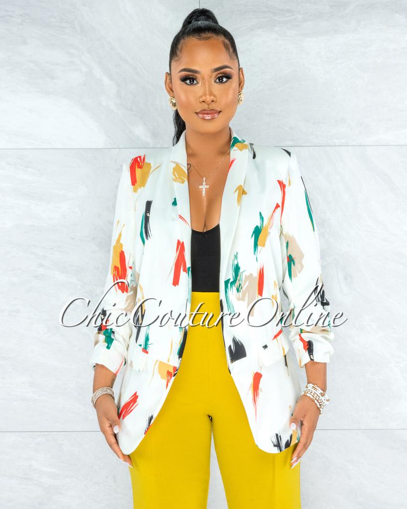 Jumana Ivory Multi-Color Print Boyfriend Blazer