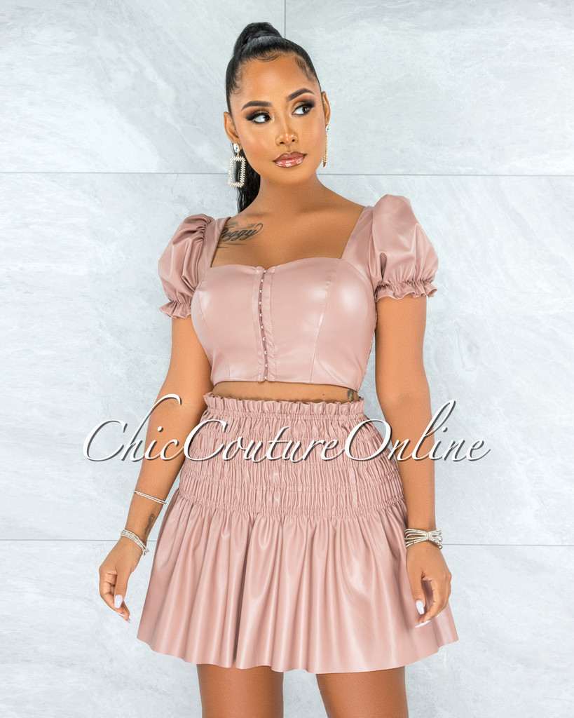 Tourmaline Mauve Faux Leather Padded Top Ruched Skirt Set