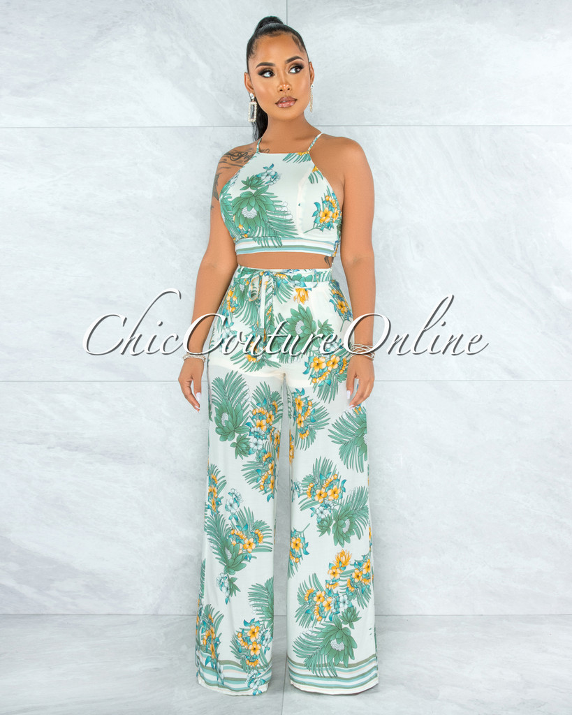 Messina Ivory Green Floral Print Crop Top & Pants Set