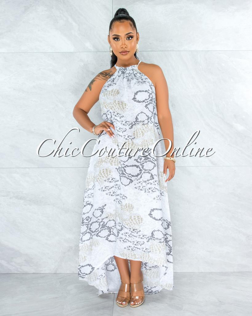 Kiah Grey Snake Print High-Low Halter LINEN Dress