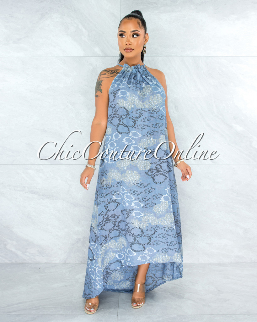 Kiah Steel Blue Snake Print High-Low Halter LINEN Dress
