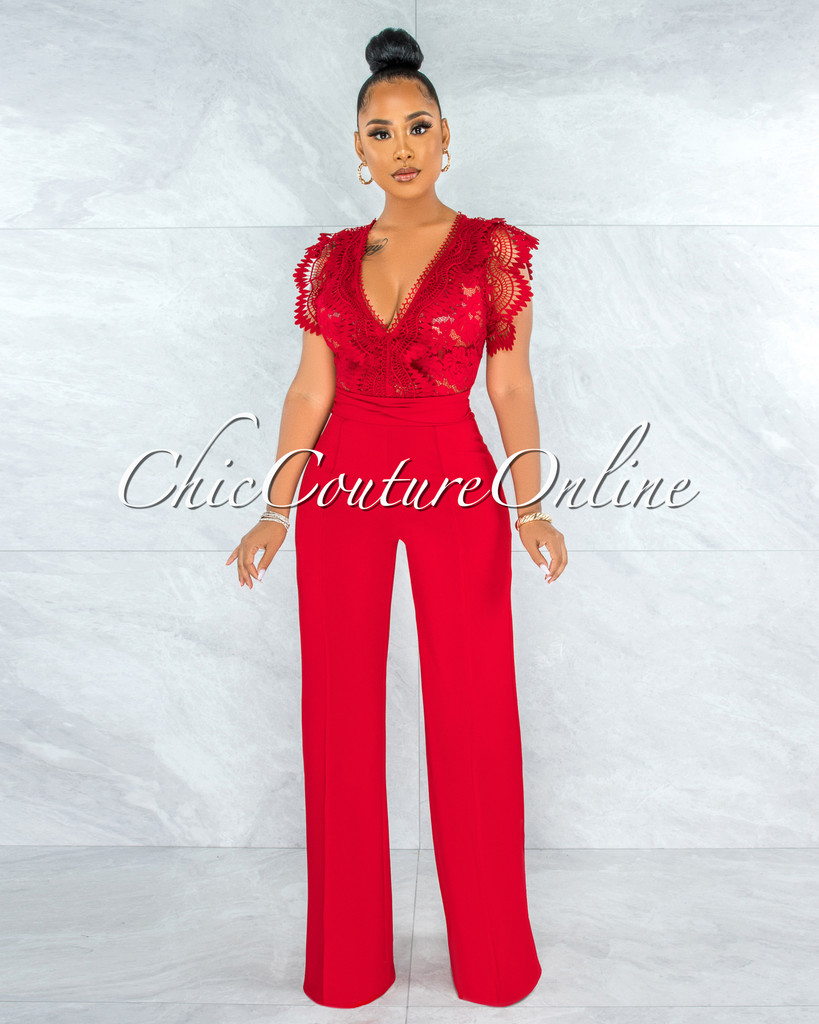 Pamba Red Crochet Lace See-Through Top Jumpsuit
