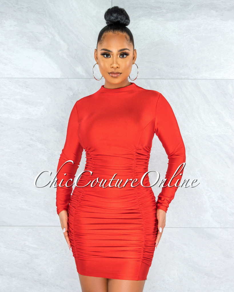 Abiel Red Ruched Sides Long Sleeves Mini Dress