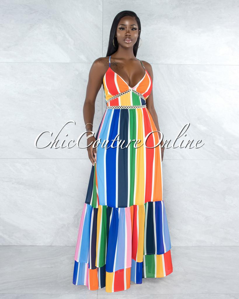 Alegria Multi-Color Stripes Crochet Details Maxi Ruffle Dress