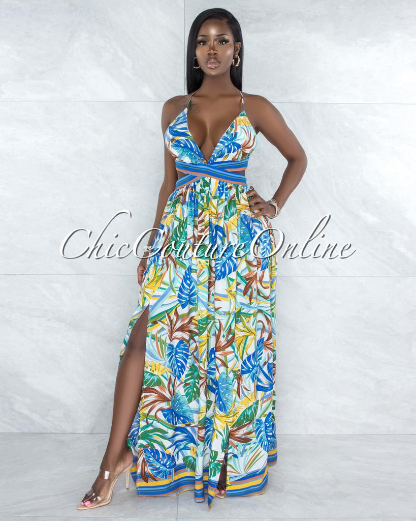 Flordeperla White Leaf Print Back Lace-Up Cut-Out Maxi Dress