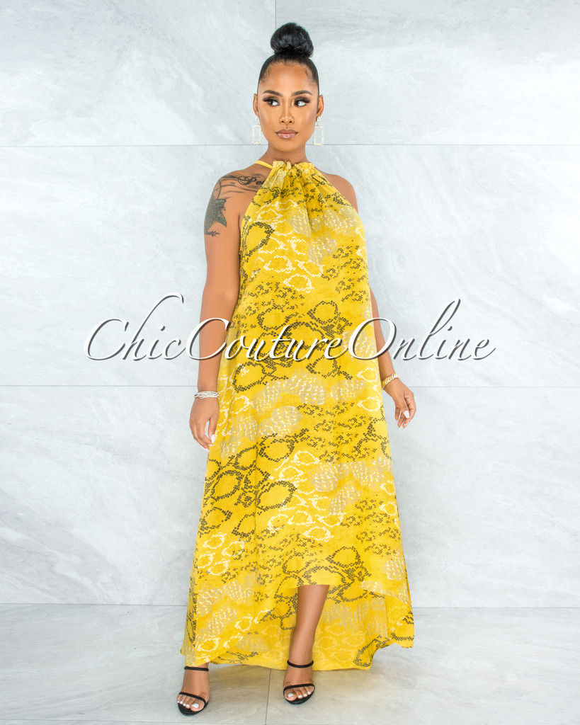 Kiah Yellow Snake Print High-Low Halter LINEN Dress