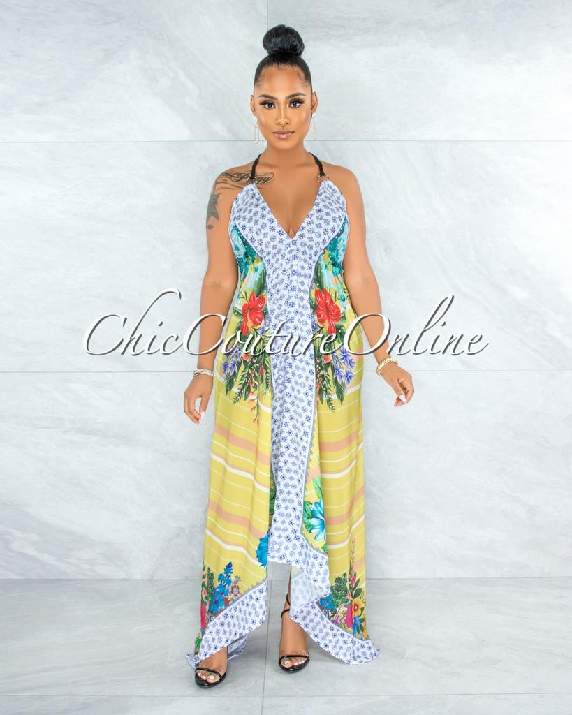 Kavi White Lemon Multi Floral Print Asymmetrical Maxi Dress