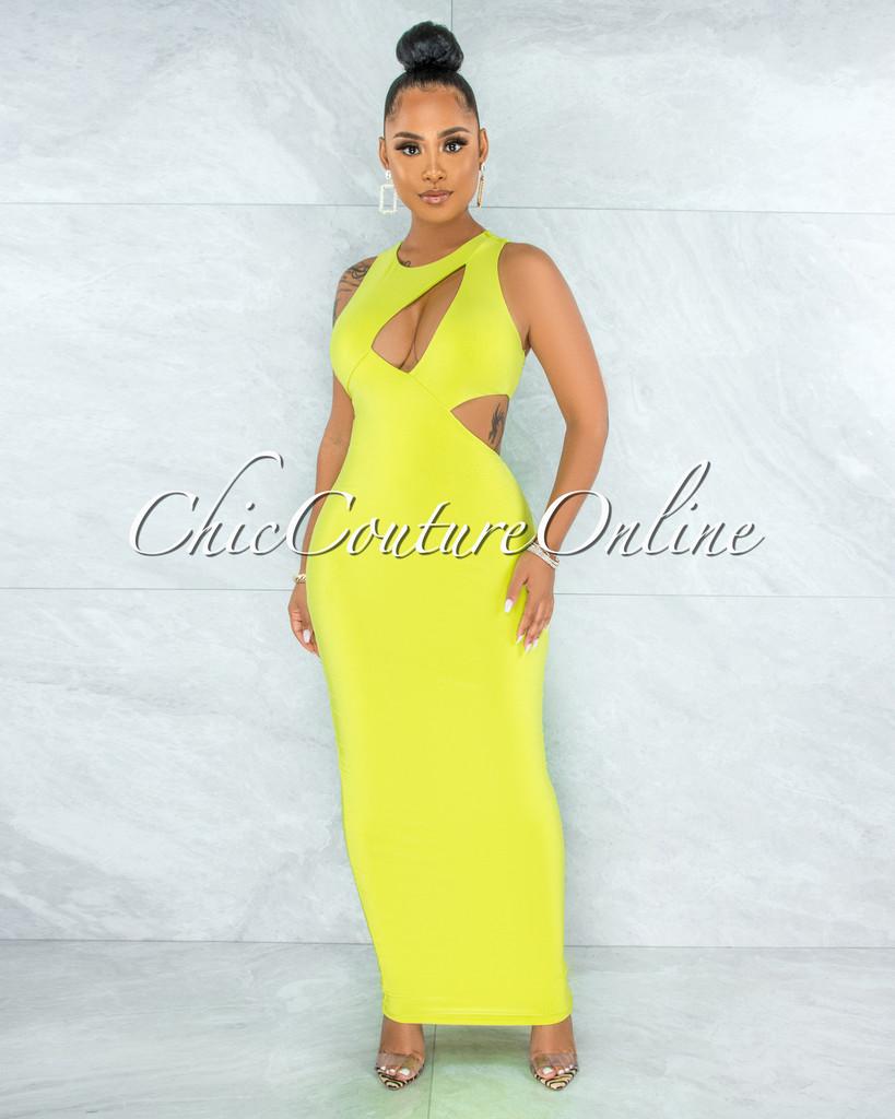 Whitson Lime Green Double Lined Key-Hole Maxi Dress