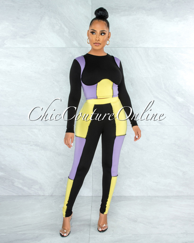 Kizza Black Lilac Yellow Trim Two Piece Sporty Set