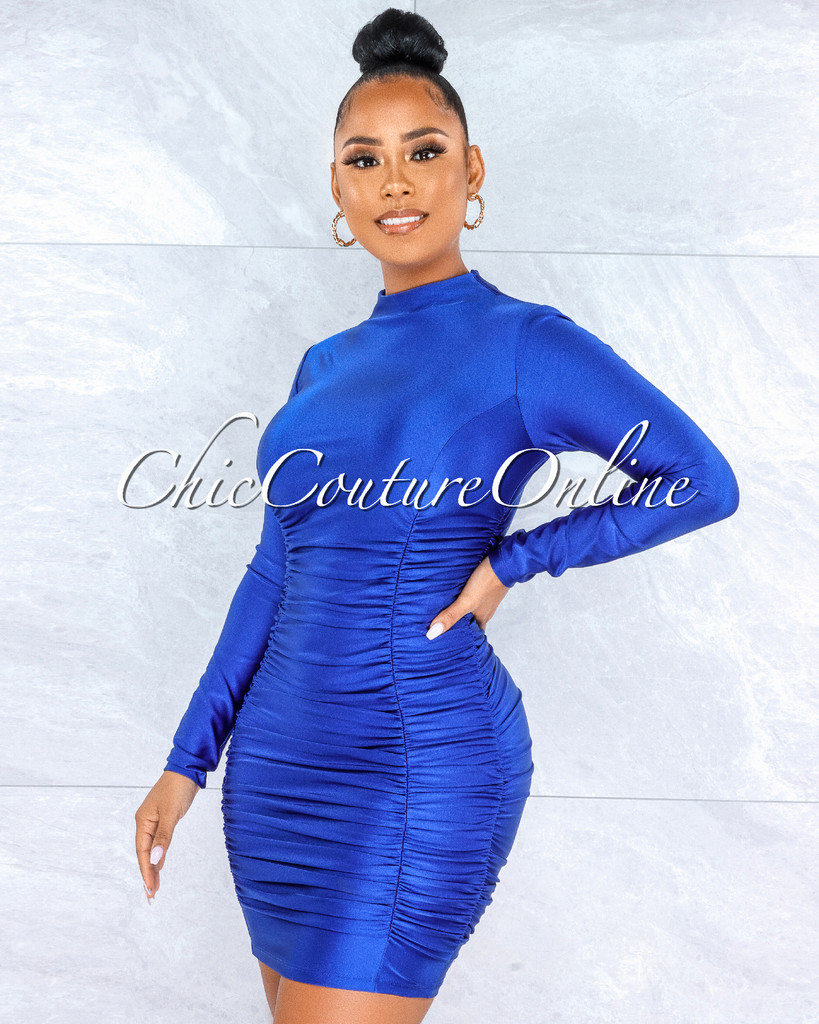 Abiel Royal Blue Ruched Sides Long Sleeves Mini Dress