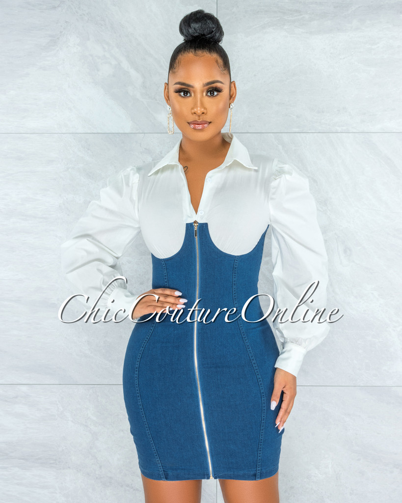 Zerena White Shirt Blue Denim Overall Illusion Dress