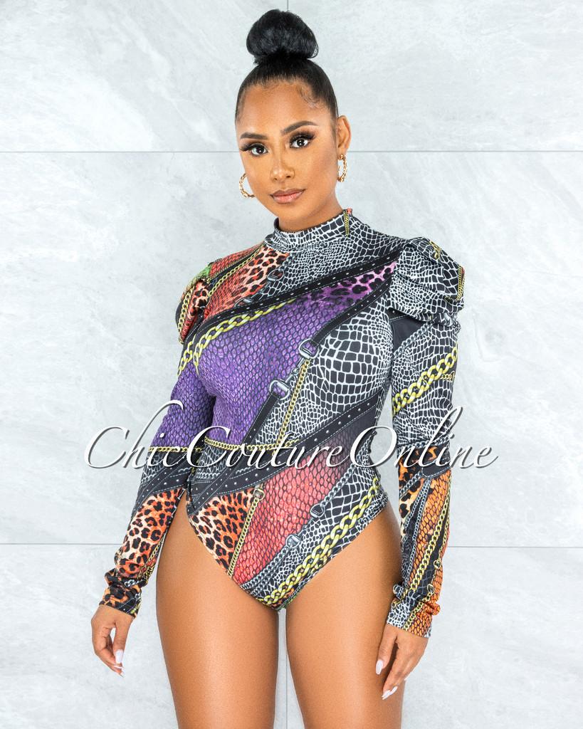 Jardena Black Multi-Color Print Long Sleeves Bodysuit