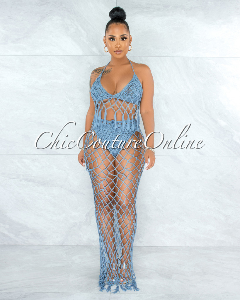 Rojas Periwinkle Blue Crochet Cover-Up Fishnet Set
