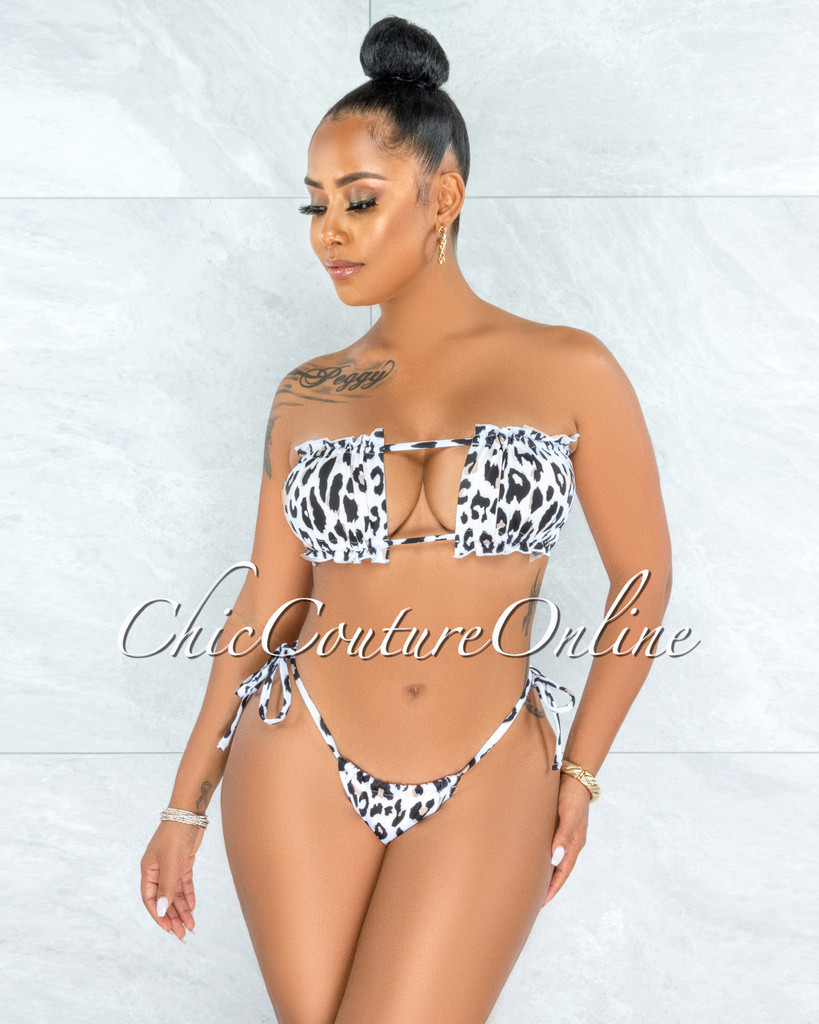 Valma White Black Leopard Print Two Piece Swimsuit