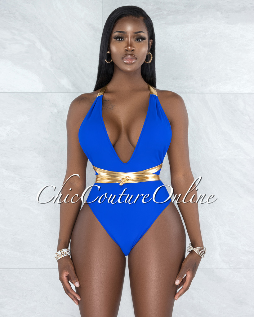 Beck Royal Blue Gold Straps One Piece Halter Swimsuit