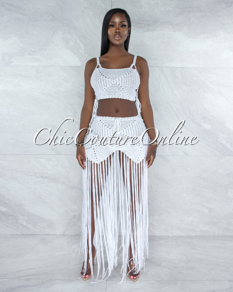 Benji Off-White Crochet Cover-Up Lace-Up Fringe Set