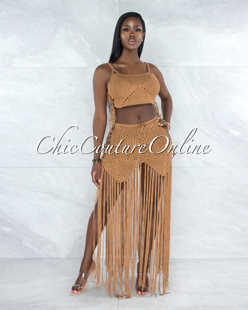 Benji Mocha Crochet Cover-Up Lace-Up Fringe Set