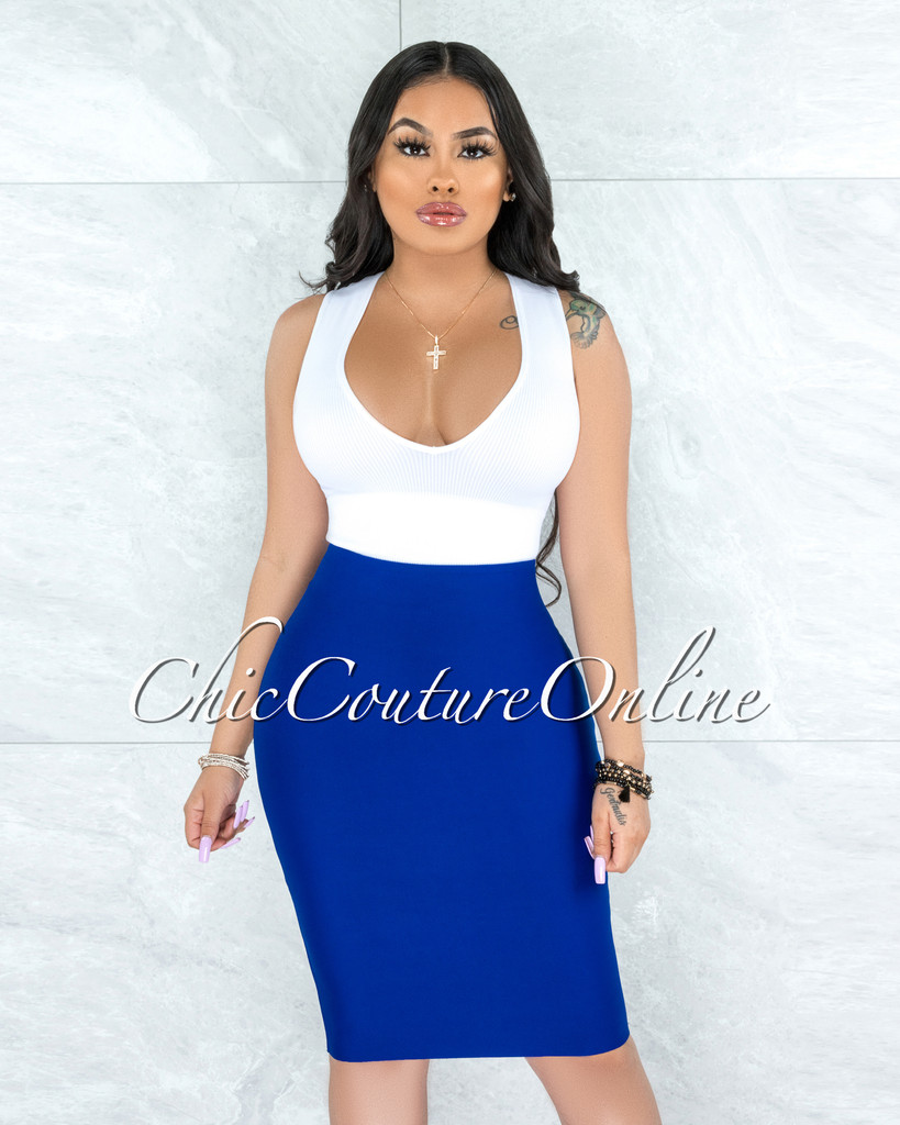 Joseph Royal Blue Elastic Bandage Skirt