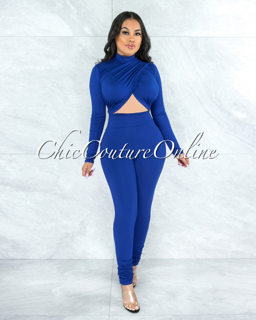 Casielle Royal Blue Drape Double Lined Top & Leggings Set