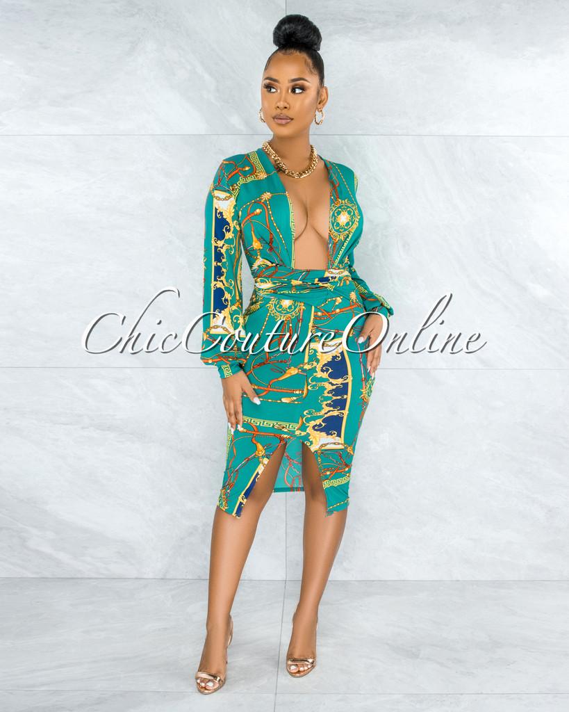 Denali Green Gold Print Deep-V Front Tie Midi Dress