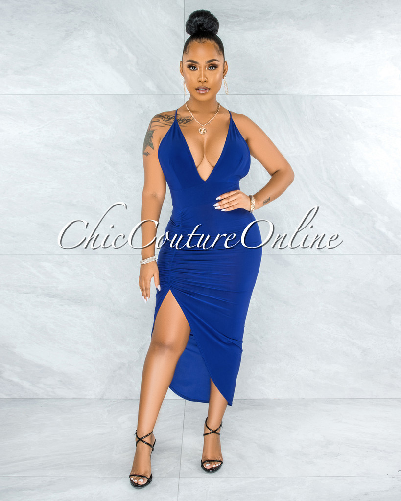 Eneas Royal Blue Draped Slit Low Back Midi Dress
