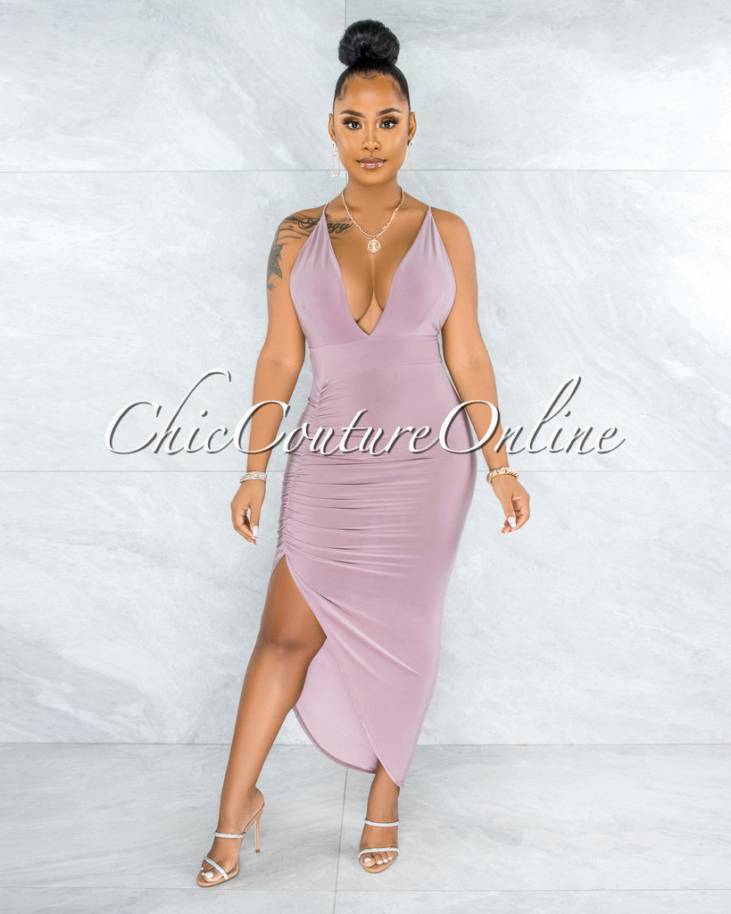 Eneas Mauve Draped Slit Low Back Midi Dress
