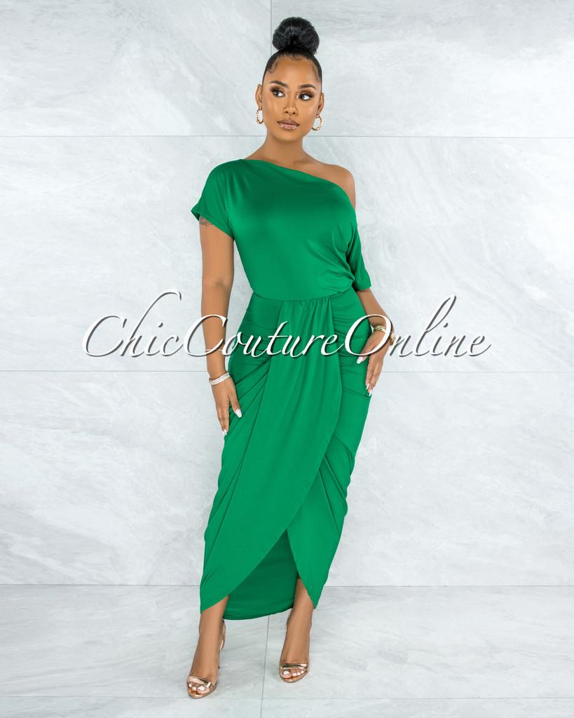 Moline Kelly Green Front Drape Maxi Dress