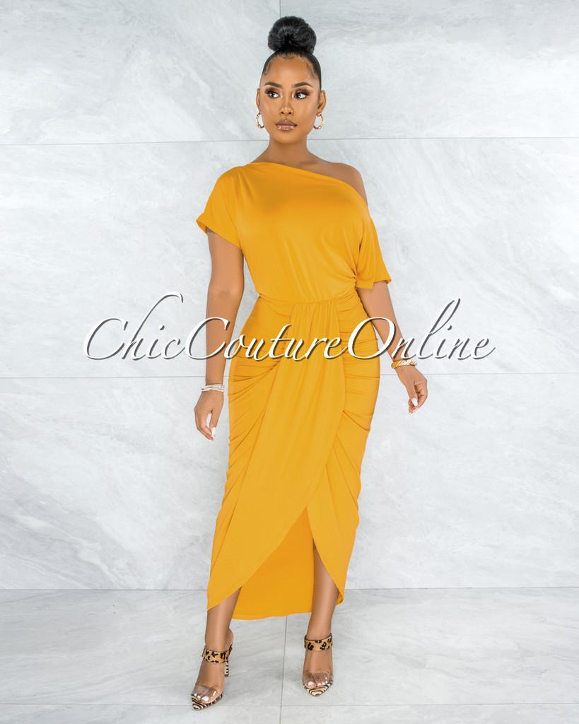 Moline Mustard Yellow Front Drape Maxi Dress