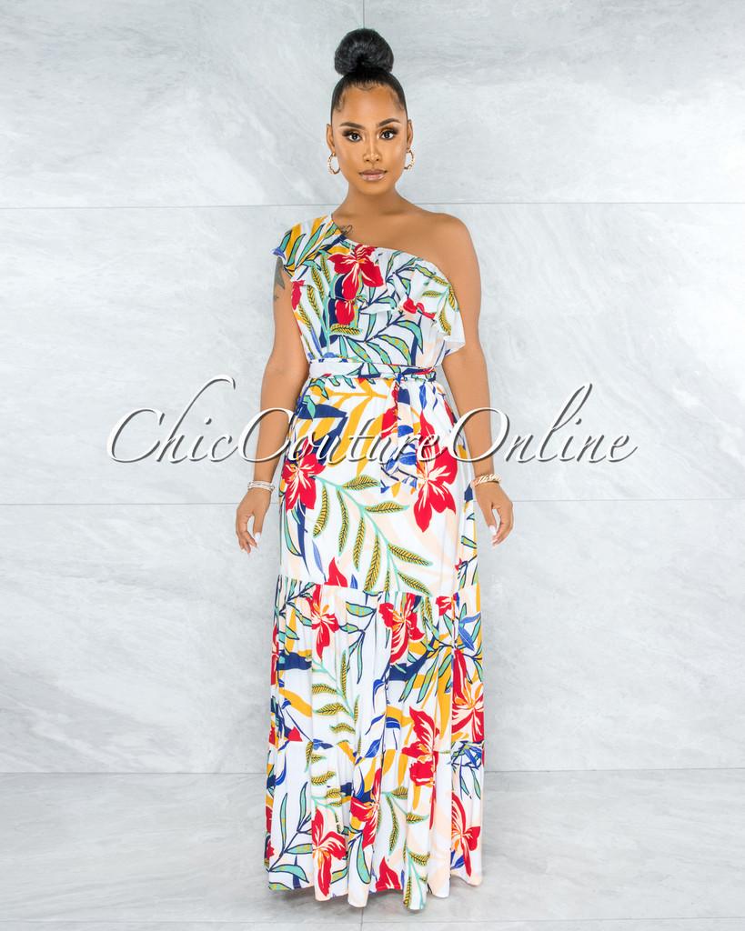 Granite Ivory Floral Print Single Shoulder Maxi Dress
