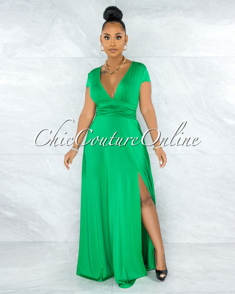 Styx Kelly Green Ruched Waistband Maxi Slit Dress