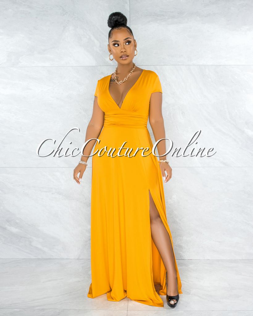 Styx Mustard Yellow Ruched Waistband Maxi Slit Dress