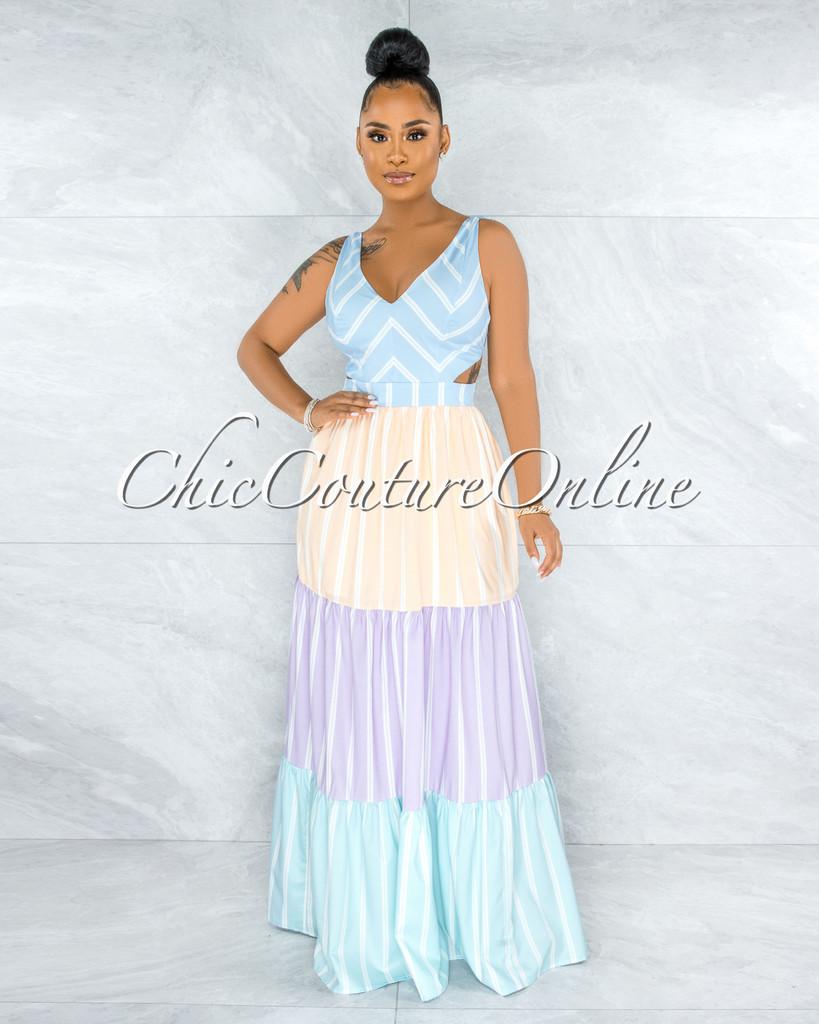 Quintana Pastel Tones Stripes Cut-Out Back Tie Maxi Dress