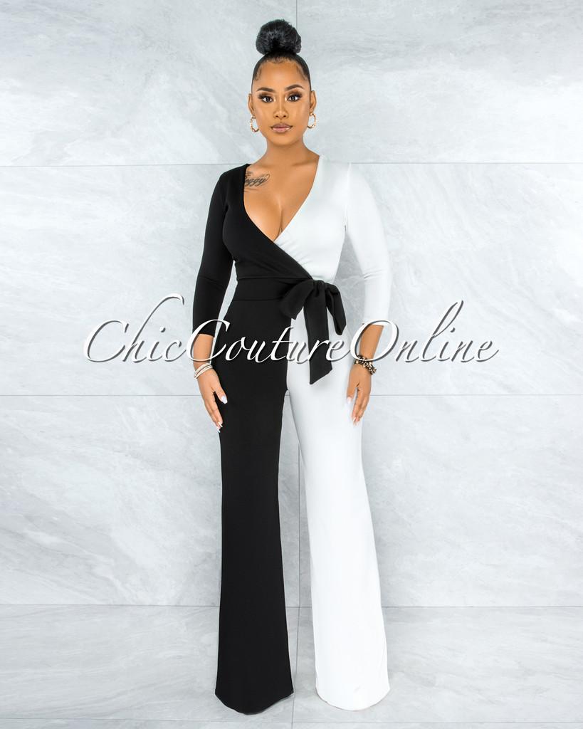 Simona Black White Block Color Wrap Jumpsuit