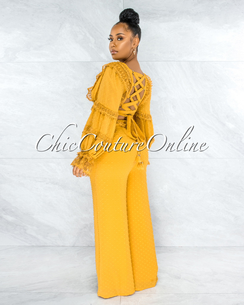 Rigel Mustard Yellow Crochet Back Lace-Up Jumpsuit