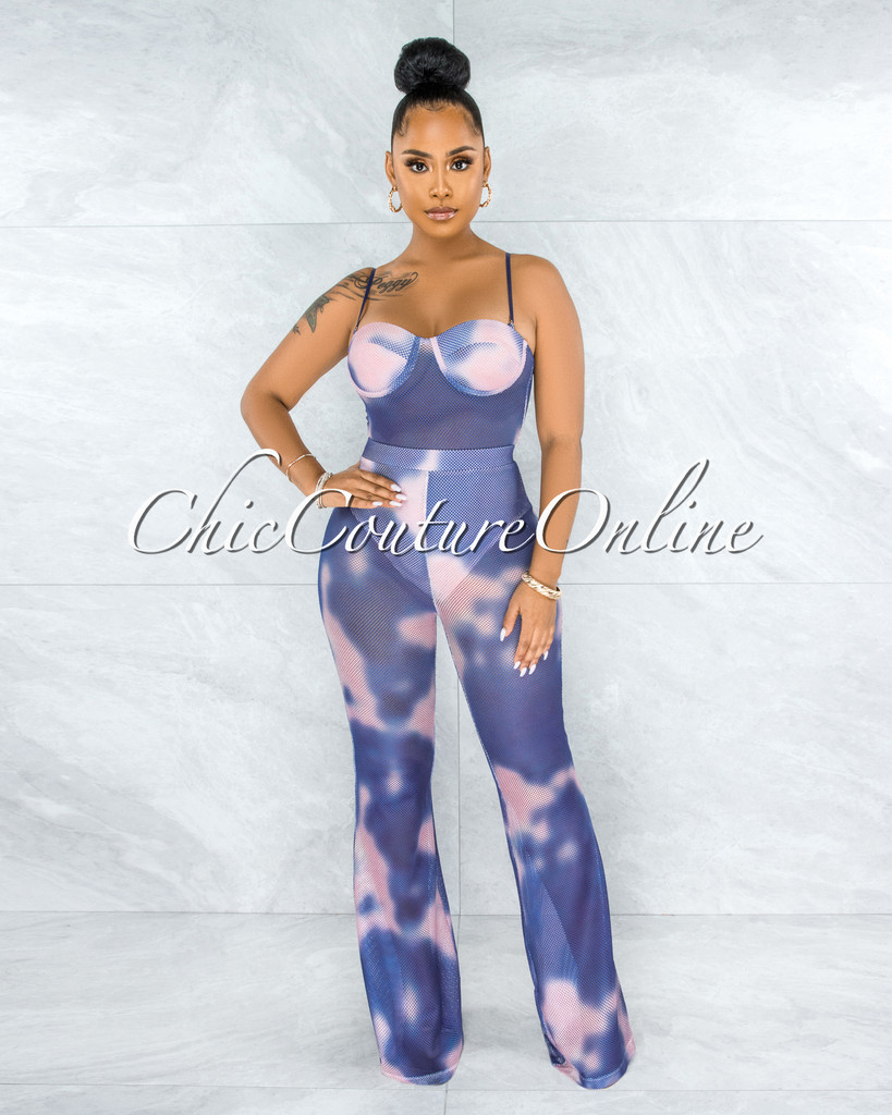 Baghel Blue Pink Tie-Dye Mesh Two Piece Bodysuit Set