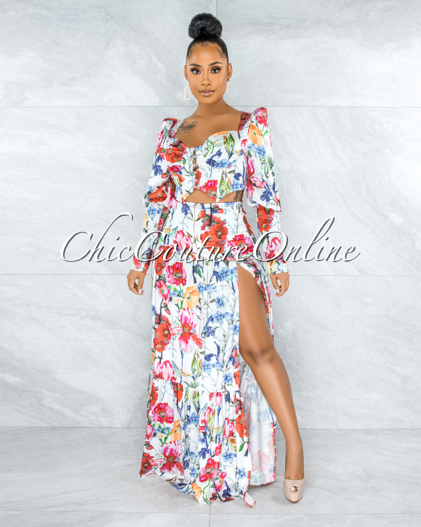 Emeth White Floral Print Corset Top & Maxi Skirt Set