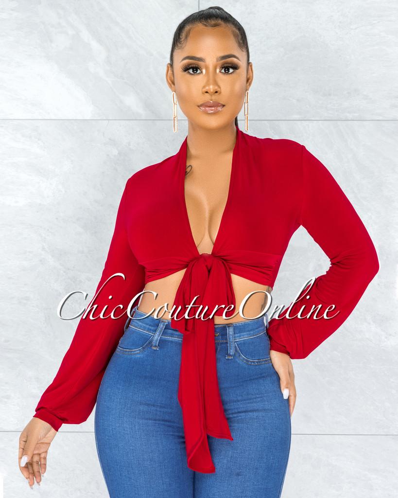 Anatola Red Front Multi-Way Self-Tie Crop Top