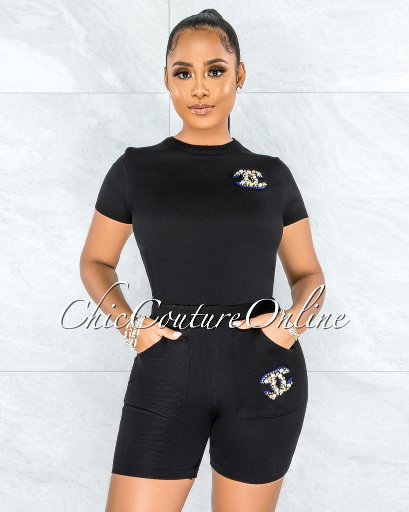 Kiamy Black Knit Pearl Embellishments Shorts & Shirt Set