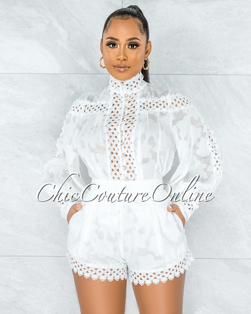 Bansuri Off-White Crochet Pearl Sheer Blouse & Shorts Set