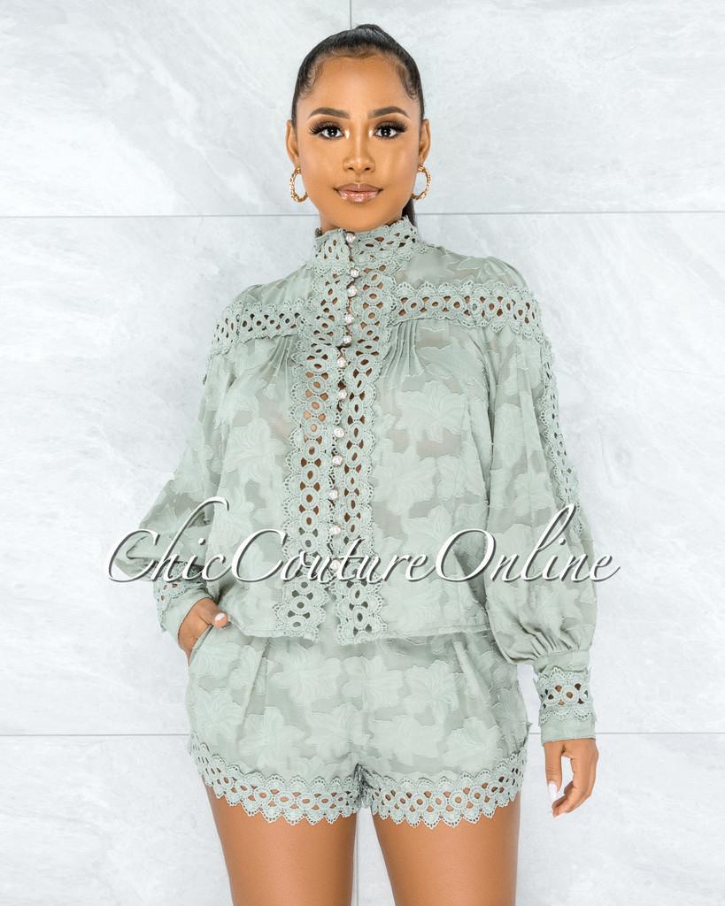 Bansuri Sage Crochet Pearl Sheer Blouse & Shorts Set