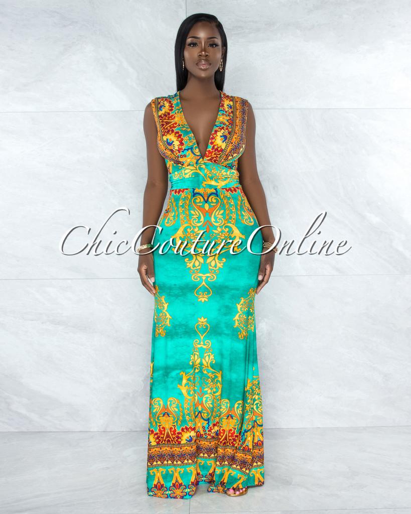 Pacifico Green Multi-Color Print Draped Waist Maxi Dress