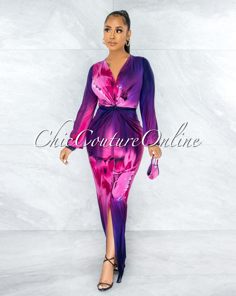 Xonta Violet Fuchsia V-Neck Maxi Dress & Mask